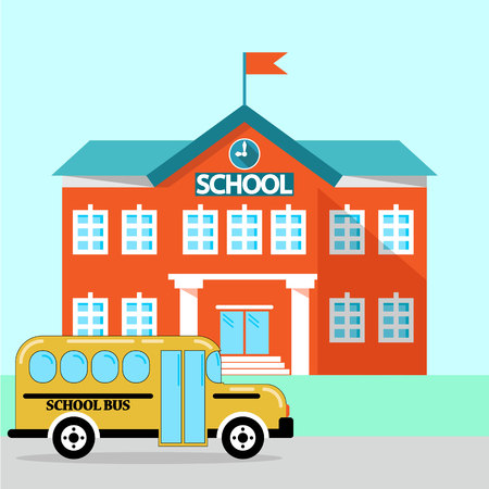 School building, bus and front yard. simple vector illustration isolated on blue background. vector illustration
