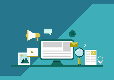 Digital marketing model, marketing strategy and planning flat vector design illustration Vecteurs