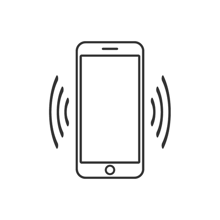 Smart phone vibrating icon. Modern minimalist mobile app ui flat simple icon. 矢量图像