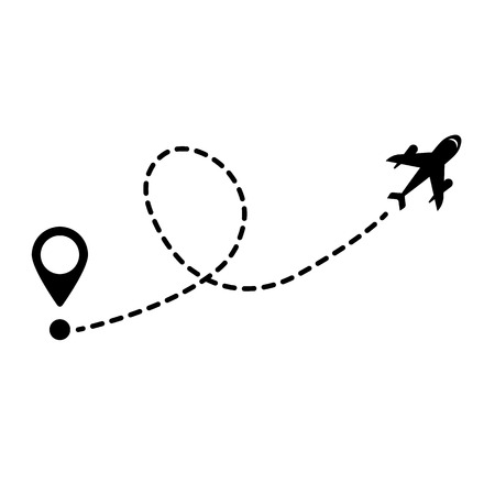 concept of movement. aircraft and location icon. vector icon Illustration
