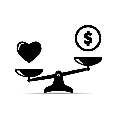 Balance between heart and money. Vector illustration on white background
