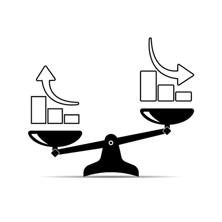 scales icon. growth up and growth down. vector flat illustration  イラスト・ベクター素材