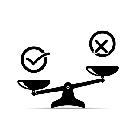 balance icon. confirmation and rejection badge. vector flat illustration