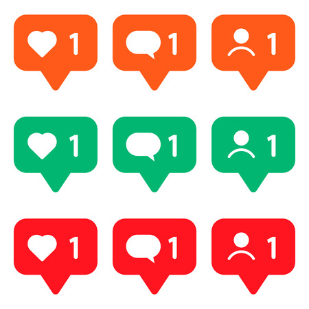 set of multicolored icons for social networks. Like, message and user. Ilustração