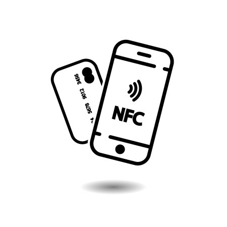 NFC mobile phone and credit card, NFC payment with mobile phone smartphone EPS10