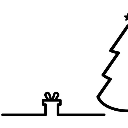 Christmas tree and gift. white background. vector EPS10 Ilustração
