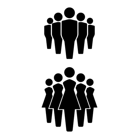 People icons set, team icon, group of people. men and women. vector