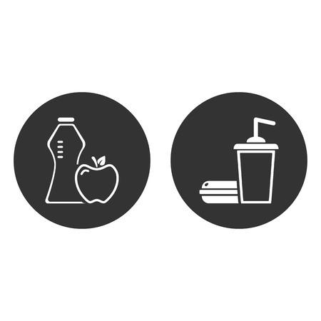 healthy lifestyle and Fast food. vector icon EPS10 Ilustração