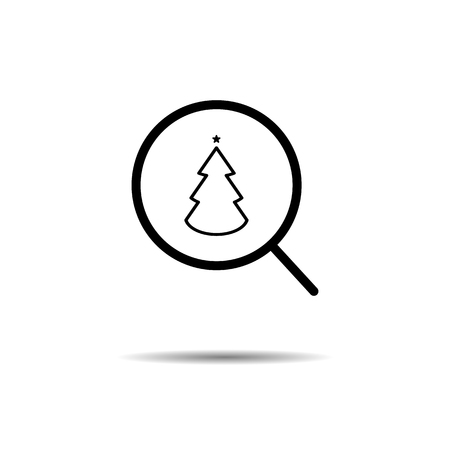 search holiday concept of finding the new year, christmas. magnifying glass and christmas tree