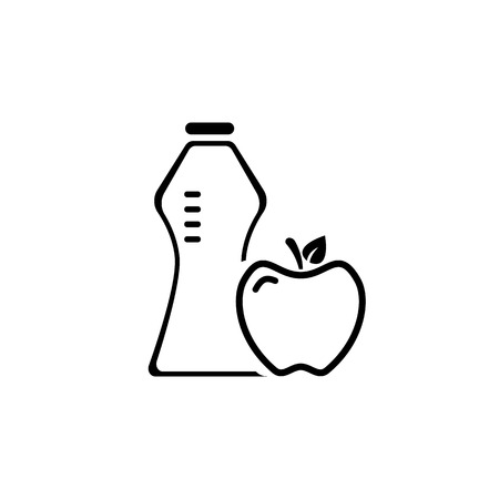 apple and bottle of water icon. healthy lifestyle concept. vector