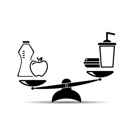 healthy lifestyle and Fast food. scale icon. vector illustration EPS10