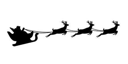 Santa Claus silhouette riding a sleigh with deers. Vector illustration EPS10 Ilustração