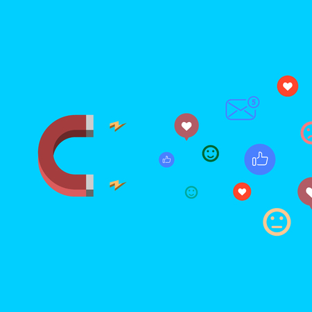 Social media concept vector illustration with magnet engaging followers and like