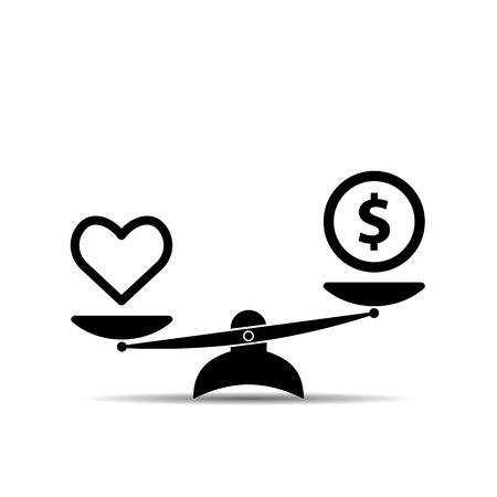 Heart Health and Money on Scales icon. Balance, quality health concept in Flat design. Vector illustration. Illustration