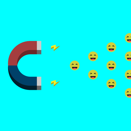 minimalistic illustration of a magnet attracting social media and influencer marketing concept, good mood