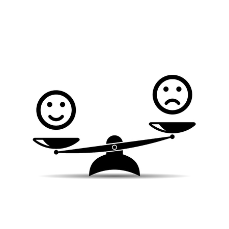Smiley emoticons different mood on scales, vector icon. Positive attitude as advantage. Happiness versus sadness. vector
