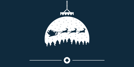 Vector Christmas background with Santa and deers flying on the sky. Christmas concept perfect for cards, prints, flayers, banners, invitations. eps10