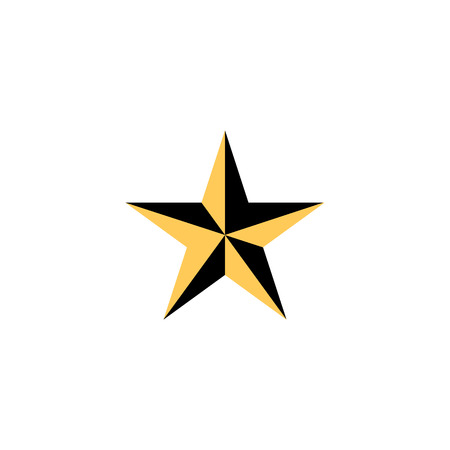 Yellow star icon color isolated on white background EPS10