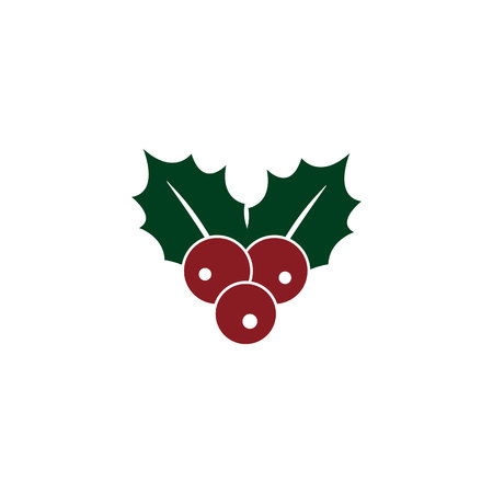 Holly berry icon. Christmas symbol vector illustration EPS10