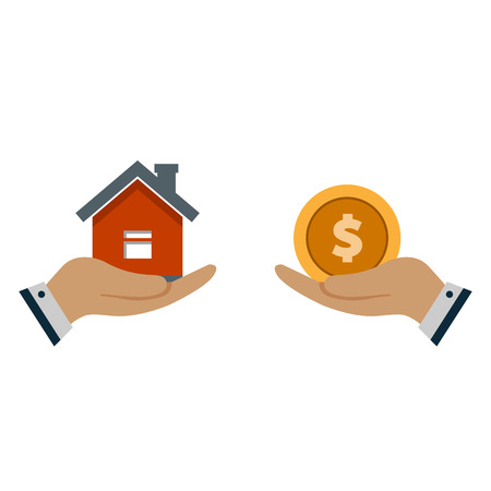 A hand agent with a house in the palm of your hand. Exchange of a house for money. Proposal of buying a house, renting real estate. vector illustration