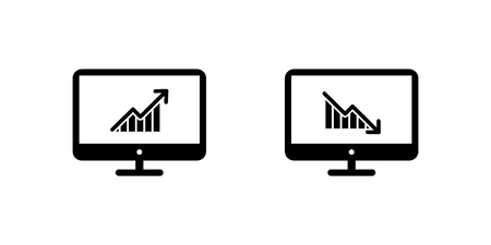 growth up and growth down on screen monitor. vector