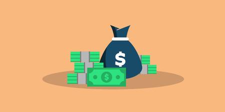 Concept big money. Big pile of cash. Hundreds of dollars. Vector isometric illustration. vector EPS10 Illustration