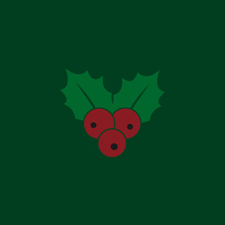 Christmas mistletoe icon in flat style isolated on green background. Vector illustration.