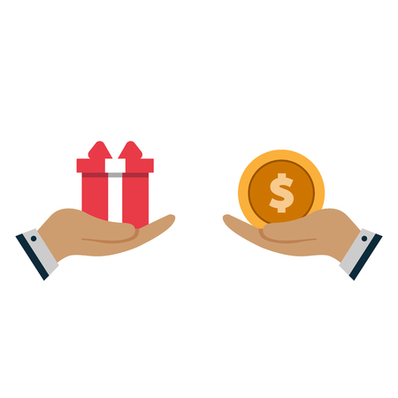Human hands with dollar money and present gift. Flat style concept design illustration. Vector banner. eps10 Imagens - 126344487