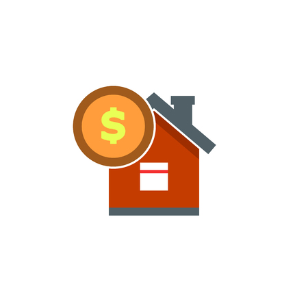 House with coin icon vector. Buying house icon in flat style. Save money for buying home EPS10 Ilustração