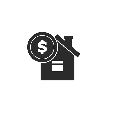 House with coin icon vector. Buying house icon in flat style. Save money for buying home EPS10 Stock Vector - 115204360