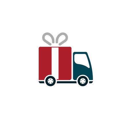 linear delivery truck with gift box. EPS10