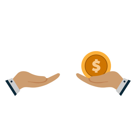 Vector cartoon of Hand, giving money to other hand vector