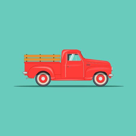 old modern beautiful american pickup. eps10