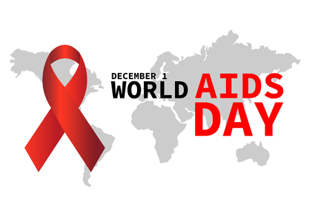 World AIDS day illustration, abstract globe with a red ribbon EPS10