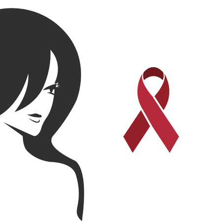 girl, red ribbon, world day with aids. vector illustration on white background EPS10  イラスト・ベクター素材