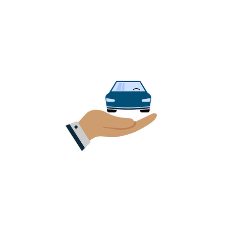 Car with icon vector. Buying car button in flat style. Save money for buying car.
