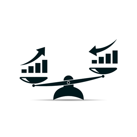 scales icon. growth up and growth down. vector symbol Ilustração