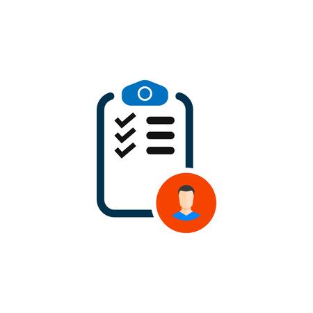 Checklist with icon man. vector simple symbol Ilustração