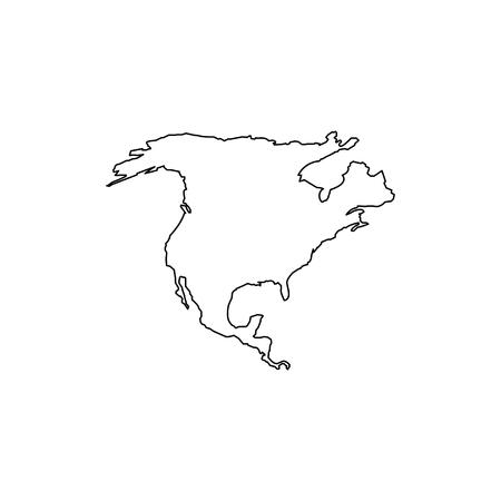 Mapa Ameryki Północnej. Płaska prosta konstrukcja. wektor