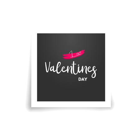 Happy Valentines Day typography poster. photo card background. vector illustration