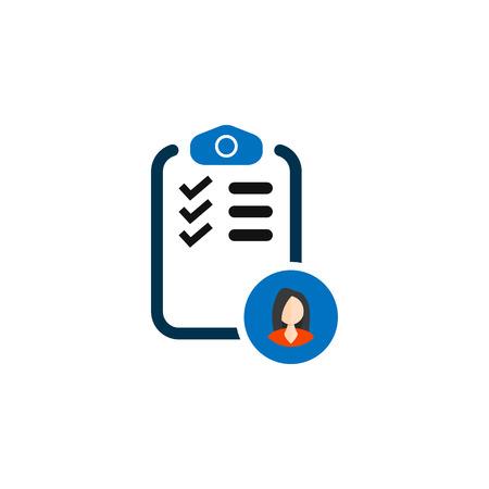 Checklist with icon woman. vector simple symbol Ilustração