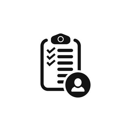Checklist with icon man. vector simple symbol Stock Illustratie