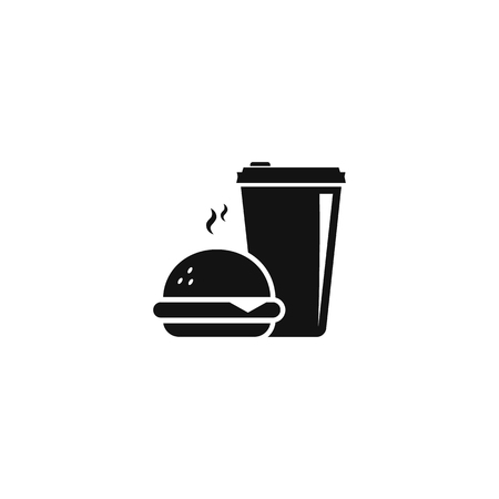 Fast Food icon. Coffee and burger. vector flat isolated illustration EPS10