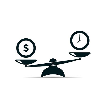 Time and money concept. scales icon. vector illustration Ilustração
