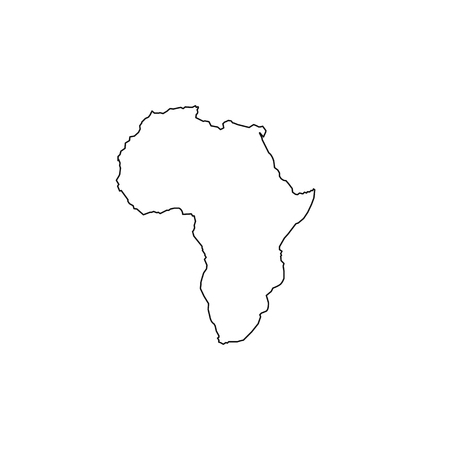 Africa map icon. Flat simple black design. vector illustration