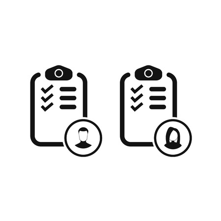 Checklist with man and woman silhouette icon, candidate approved symbol. vector symbol Ilustração