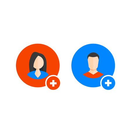 Add man or woman icon. User profile web with plus glyph. vector color symbol Ilustração
