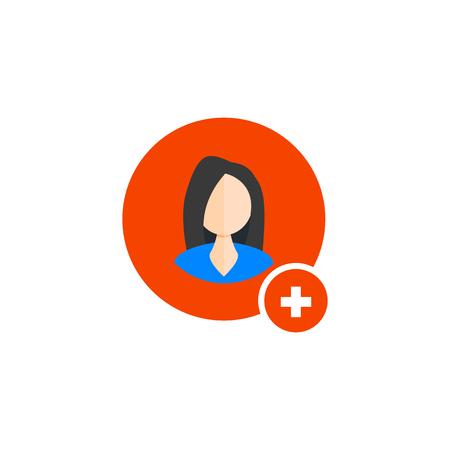 Add woman icon. User profile web with plus glyph. Vector symbol Ilustração