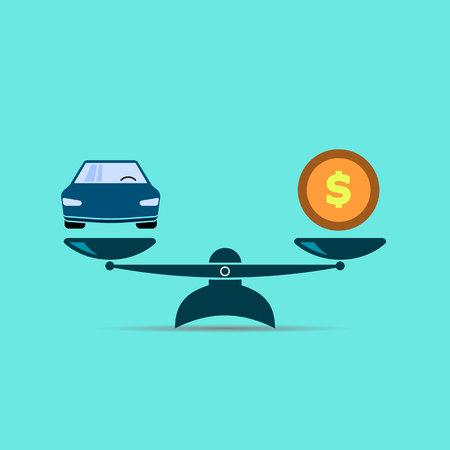 icono de escalas. coche y dinero. símbolo de color vectorial