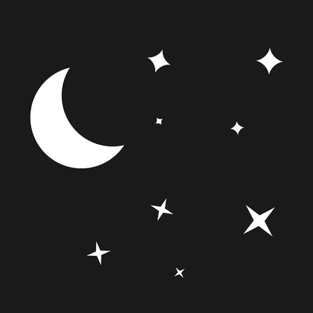 Night moon and stars. vector symbol Ilustração